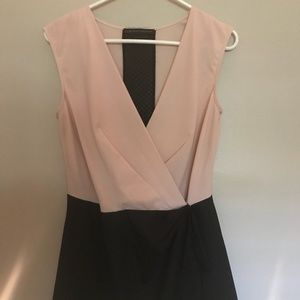 Signature8 Pants & Jumpsuits - Blush and black Color block deep V Romper
